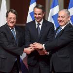 Le Premier ministre grec Kyriakos Mitsotakis, le président chypriote Nicos Anastasiades et le Premier ministre israélien Benjamin Netanyahu ont paraphé l'accord. Image: AFP