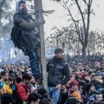 Des centaines de migrants à la frontière entre la Grèce et la Turquie, à Pazarkule.