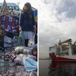 A gauche, des réfugiés à Evros, à la frontière turco-grecque, le mardi 3 mars 2020. A droite, le bateau turc de prospection pétrolière, Yavuz.