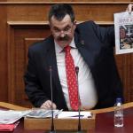 Christos Pappas, en 2014, à la tribune du Parlement à Athènes. Yorgos Karahalis/Reuters