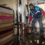 Les dommages causés par la tempête qui a frappé l'île grecque d'Eubée le 10 octobre. PHOTO / AYHAN MEHMED / ANADOLU AGENCY VIA AFP