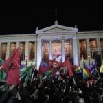 Athènes, dimanche soir 25 janvier 2015.  AFP/ARIS MESSINIS