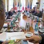Les ministres des finances du G7 et les banquiers centraux réunis à Drede, en Allemagne, le 28 mai.