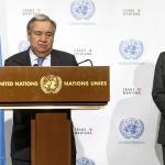 Le secrétaire général de l'ONU Antonio Guterres s'adresse à la presse, vendredi 7 juillet 2017. © SALVATORE DI NOLFI/KEYSTONE