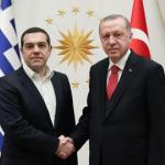 Le Premier ministre grec Alexis Tsipras et le président turc Recep Tayyip Erdogan à New York le 24 septembre 2018, sur une photographie transmise par la présidence turque.
