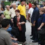 Aleka Papariga auprès des grevistes à Athènes