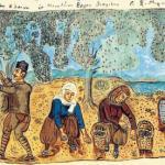 La récolte des olives vue par le peintre Théophilos (1938)