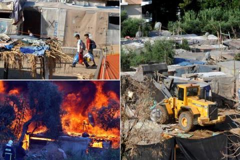 Le démentelement du campement des migrants cladestins de Patras