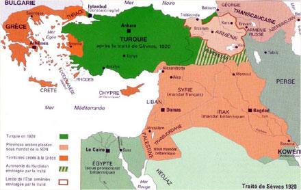 Carte de la répartition de l'Empire ottoman selon les termes du Traité de Sèvres, in G. Chaliand et J.-P. Rageau, Atlas des Européens, Fayard, 1989