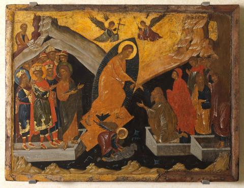 La descente chez Adès - icône 47,2x62cm, artiste anonyme à Constantinople, fin XIVe s. Collection Institut hellénique de Venise