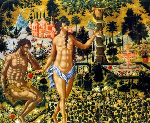 Theodoros Poulakis - Le péché originel (détail de Επί Σοί Χαίρει, ≃1650, musée Benakis, Athènes)