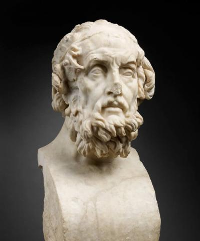 Portrait imaginaire d'Homère, buste en marbre, H. 54 cm ; L. 25 cm. IIe siècle ap. J.-C.