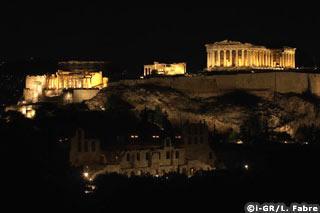 Vue d'ensemble de l'Acropole avec en bas le théâtre Herodeion