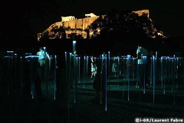 Le rocher de l'Acropole de nuit