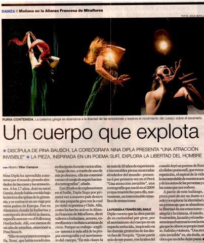 Juillet 2011. La presse péruvienne couvre largement le passage de Nina Dipla à l'Alliance française de Lima.