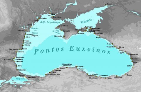 Colonies grecques sur le pourtour de la Mer Noire. (cartographie by Spiridon Ion Cepleanu [CC BY-SA 4.0], via Wikimedia Commons)