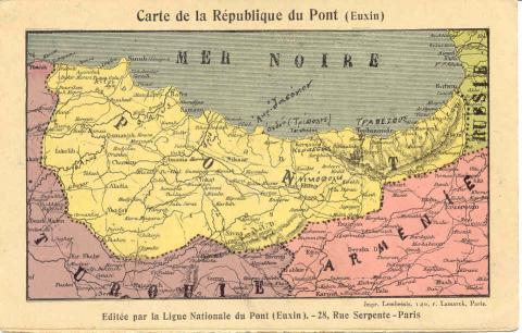 Carte du Royaume de Pontos. Par deux fois dans l'Histoire il y eut un royaume hellénique autonome à Pontos : sous les Mithridates (IVe-Ier siècles av. J.-C.) et sous les Comnènes (XIIe-XIVe siècles)