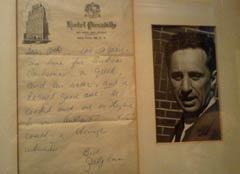 La lettre de sympathie que Jean Cocteau lui avait adressée.