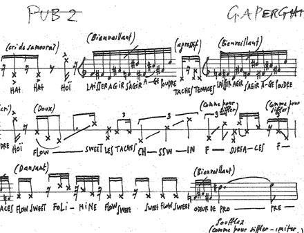 Georges Aperghis, partition de « Pub 2 »