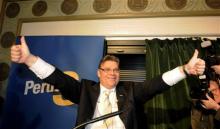 Timo Soini, chef des Eurosceptiques et futur ministre des finances finlandais (Crédits : (c) Copyright Thomson Reuters 2011. Check for restrictions at: http://about.reuters.com/fulllegal.asp)