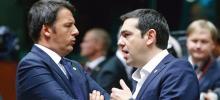 Matteo Renzi et Alexis Tsipras Crédits photo : OLIVIER HOSLET/EPA/MAXPPP