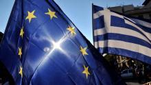 Manifestation proeuropéenne, le 2 juillet à Athènes. Crédits photo : SAKIS MITROLIDIS/AFP