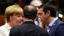 La chancelière allemande Angela Merkel, le président français Francois Hollande et le Premier ministre grec Alexis Tsipras à Bruxelles le 12 juillet 2015. - AFP/John MacDougall