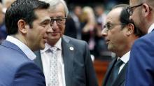 Alexis Tsipras aux côtés de Jean-Claude Juncker, Francois Hollande et Charles Michel.