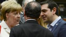Angela Merkel, François Hollande et Alexis Tsipras lors du sommet européen de Bruxelles, le 12 juillet 2015 Crédits photo : POOL/REUTERS