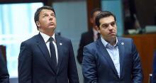 Matteo Renzi, le président du Conseil italien, et Aléxis Tsípras, le Premier ministre grec. - Photo Emmanuel Dunand / AFP