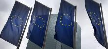 Le siège de la Banque centrale européenne, à Francfort-sur-le-Main. Crédits photo : DANIEL ROLAND/AFP