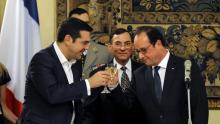Alexis Tsipras et François Hollande lors du dîner organisé au palais présidentiel à Athènes Crédits photo : © Michalis Karagiannis / Reuter/REUTERS