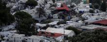Le camp de Moria sur l'île de Lesbos vu du ciel le 8octobre 2019. © REUTERS/Elias Marcou