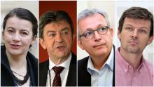 Cécile Duflot (EELV), Jean-Luc Mélenchon (Parti de gauche), Pierre Laurent (PCF) et Guillaume Balas (PS).