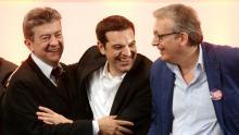 Jean-Luc Mélenchon et Pierre Laurent encadrent Alexis Tsipras président de Syriza. Crédits photo : PIERRE ANDRIEU/AFP