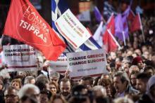 Dernier meeting de campagne pour Syriza, jeudi soir à Athènes. Alexis Tsipras y était notamment accompagné du leader du mouvement espagnol Podemos, Pablo Iglesias.