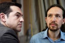 Alexis Tsipras, premier ministre grec et membre du parti grec Syriza (gauche) et Pablo Iglesias, leader du parti espagnol Podemos. Image d'archives. Image: Reuters