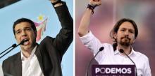 Photo de gauche : Alexis Tsipras, président de Syriza, 40 ans. Photo de droite : Pablo Iglesias, Secrétaire général de Podemos, 36 ans. (Louisa Gouliamaki - Dani Pozo / AFP PHOTO)