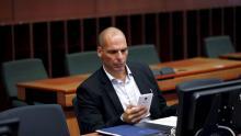 Le ministre grec des Finances, Yanis Varoufakis, lundi, à Bruxelles. Crédits photo : FRANCOIS LENOIR/REUTERS