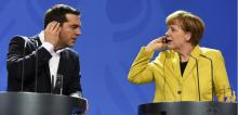 Angela Merkel et Alexis Tsipras le 23 mars 2015 à Berlin. (TOBIAS SCHWARZ / AFP)