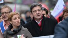 Clémentine Autain et Jean-Luc Mélenchon à Paris, le 15 février 2015. Crédits photo : LOIC VENANCE/AFP