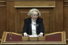 La présidente de la Cour suprême, Vassiliki Thanou-Christophilou, devant le Parlement, le 9 mars 2015.