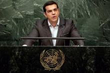 Alexis Tsipras à la tribune de l'Onu, le 27 septembre 2015. - Richard Drew/AP/SIPA