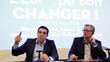 Alexis Tsipras et Pierre Laurent ont donné une conférence de presse commune vendredi soir. Crédits photo : BERTRAND GUAY/AFP