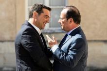 Le premier ministre grec Alexis Tsipras avec le président français François Hollande, le 25 août 2016 à la Celle Saint-Cloud (France). Image: Keystone