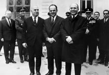 Stylianos Pattakos à gauche,Georgios Papadopoulos au centre etNikolaos Makarezos à droite, le 21 avril 1967.