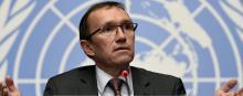 L'envoyé spécial du secrétaire général des Nations unies Espen Barth Eide peinait à retenir son enthousiasme mercredi lors d'une conférence de presse. © PHILIPPE DESMAZES / AFP PHOTO