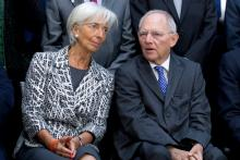 Christine Lagarde, directrice générale du FMI, et Wolfgang Schaüble, ministre allemand des Finances. Image: Keystone