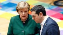 La chancelière allemande Angela Merkel et le Premier ministre grec Alexis Tsipras, le 10 mars 2017 à Bruxelles
