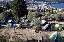 Un camp improvisé de réfugiés sur l'île de Samos. Image: AFP